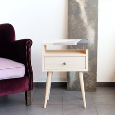 Bedside Table with drawer Mid Century Modern Furniture Nightstand Scandinavian Style Bedroom furnitur End table Side table ALD-0015C