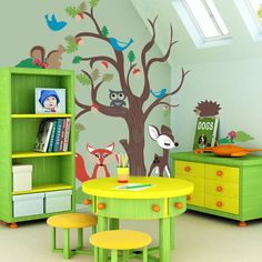 Oak Tree and Woodland Animals - mural