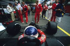 Alain Prost, McLaren, in the pitlane in Monaco in 1984.