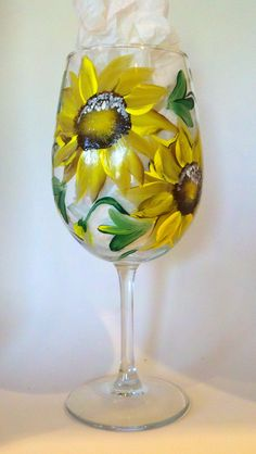 Handpainted Sunflower Wine Glass    Ready to by Brusheswithaview, $15.00