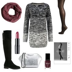 OneOutfitPerDay 2017-01-10 - #ootd #outfit #fashion #oneoutfitperday #fashionblogger #fashionbloggerde #frauenoutfit #herbstoutfit - Frauen Outfit Frühlings Outfit Outfit des Tages Artdeco Billabong George Gina & Lucy ITEM m6 Kiomi Lippenstift LONDONTOWN Loop-Schal Overknees Party Pieces Playtex Schwarz Strickkleid Strumpfhose Tights
