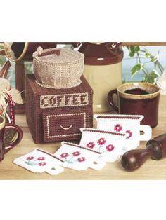 Plastic Canvas - Accessories - Coasters - Coffee Mill Coaster Set - #FP00007