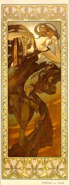 Alphonse Mucha (Frau, Sommer, Blumen, Lilie, Lilien, ?, Rahmen)