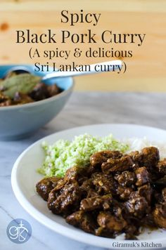Spicy Sri Lankan Black Pork Curry - The Flavor Bender w/ tamarind Spicy Recipes, Curry Recipes, Pork Recipes, Indian Food Recipes, Asian Recipes, Recipies, Fish Recipes, Chicken Recipes, Curry Dishes