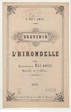 L'hirondelle : à mes amis, souvenir / par Alexandre Des Hayes,... | Gallica