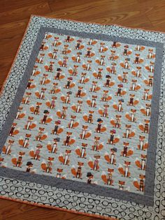 Fox Baby Crib Quilt -- Made-to-Order-- Andie Hanna Fox and the Houndstooth-- orange, grey, white by ModernMaterialGirl on Etsy https://www.etsy.com/listing/220041584/fox-baby-crib-quilt-made-to-order-andie