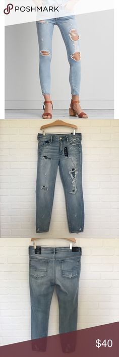 American Eagle Jeggings Size 12L  New with Tags.  American Eagle Jegging Ankle Ice Woman Jeans.  Distressed denim.    Sold out online, not available in stores. American Eagle Outfitters Jeans Ankle & Cropped