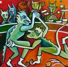"""Tanz der Kobolde - Acryl auf LW, 100 x 100 cm, © Anja Hühn 2016.  Weitere Kobolde findet ihr unter Anderem in DM Bild """"den Kopf verdrehen lassen"""" oder """"Frosch Otto und sein kleiner blauer Kobold"""""""