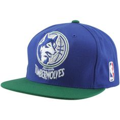 separation shoes f37c2 912a7 Mitchell   Ness Minnesota Timberwolves XL Logo Two Tone Snapback Hat -  Slate Blue Green