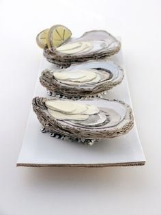 Art on the menu  //cardboard oysters on the half shell by Patianne Stevenson