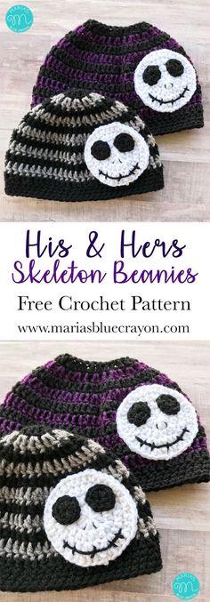 Crochet Skeleton Beanie   Skeleton Messy Bun Beanie Hat   Striped Crochet Beanie   Jack Skellington Beanie Hat   Nightmare Before Christmas   Free Crochet Pattern