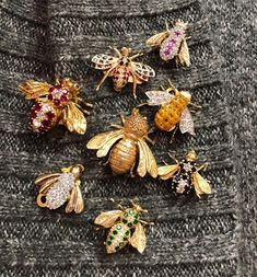 Our collection of Vintage Diamond and Gemset Bees! For more information, visit our website at www.alicekwartler.com or 212-752-3590. #alice_kwartler_antiques #alice #bee #gemstones #diamond #sapphire #ruby #emerald # #savethebees #pin #brooch #forsale