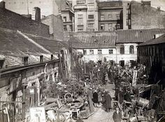 A scrap metal dealers' courtyard in a Jewish neighborhood on Bagna Street. Poland History, Jewish History, Wandering Jew, Warsaw Poland, Documentary Photography, Eastern Europe, Rue, Black And White Photography, Old World