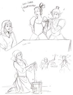 Meredith, Fenris, Sebastian, Justice, and Anders as Cinderella. Bippity boppity JUSTICE HAHAHAHA