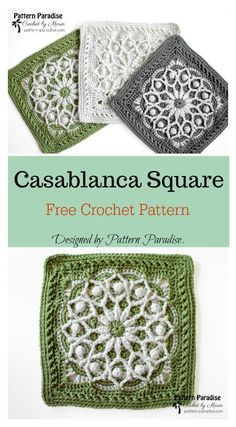 Crochet Granny Square Patterns Casablanca Square Free Crochet Pattern - This Casablanca Square Free Crochet Pattern has charming flowery design. This amazing decorative square is perfect both for big and smaller projects. Crochet Blocks, Granny Square Crochet Pattern, Afghan Crochet Patterns, Crochet Motif, Crochet Designs, Free Crochet Square, Crochet Granny, Crochet Squares Afghan, Knitting Patterns