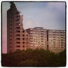 Demolition of Sighthill flats, Glasgow 2013