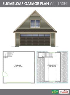 Sugarloaf Garage Plan. 26' x 28'. 2-car garage. 378 sq. ft. bonus room. (61115SET) Kent Building Supplies #GaragePlans