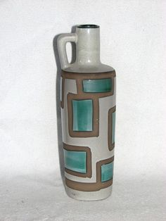Strehla - East German Ceramics, jug vase - beautiful subtle teal green and lightest of browns - watercolor in appearance 1970s RETRO vintage.  Nice vase.