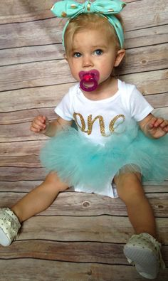 Aqua and Gold First birthday outfit/Gold and Aqua by BespokedCo