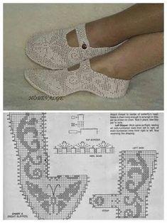 Discover thousands of images about Esquemas ganchillo variados y gratis ⋆ Crochet Patrones Crochet Sandals, Crochet Boots, Crochet Slippers, Crochet Clothes, Filet Crochet, Hand Crochet, Crochet Stitches, Crochet Slipper Pattern, Crochet Patterns