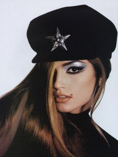 cindy crawford with fierce silver cat's eyes