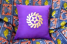 African cushion cover handcrafted with Adinkra symbol - The symbol on this cushion cover is called Sesa Wo Suban, which means transformation 'I change or transform my life'.