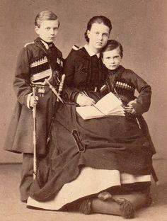 teatimeatwinterpalace:  The three youngest children of Alexander II and Empress Maria Alexandrovna : Grand Duke Sergei Alexandrovich, Grand Duchess Maria Alexandrovna and Grand Duke Paul Alexandrovich.