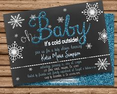 Snowflake Baby Shower Invitation   Winter Baby Shower Invitations   Cold  Outside Baby Shower Invite   Oh Baby Shower Invite   Boy Shower