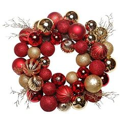 Valery Madelyn Pre-Lit Luxury Red and Gold Christmas Wreath with Shatterproof Ball Ornaments, Rattan Base and 20 LED Lights, Remote and Timer Included, Themed with Tree Skirt(Not Included): Home & Kitchen Silver Christmas, Christmas Balls, Christmas Wreaths, Christmas Ornaments, Ball Ornaments, Ornament Wreath, How To Make Wreaths, Decor Crafts, Luxury