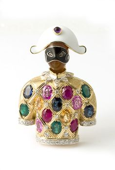 "18K gold, enamel ""Arlecchino"" brooch with sapphires, emeralds, rubies and diamonds. Nardi."