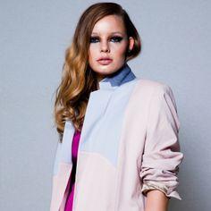 Pastelroze en lichtblauwe blazer - Acne