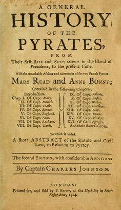 Published in 1724, The General History of the Pyrates is a collection of biographies of all the well known pirates of the era. While some parts seem exaggerated, it is one of the few primary sources regarding the lives of these pirates.