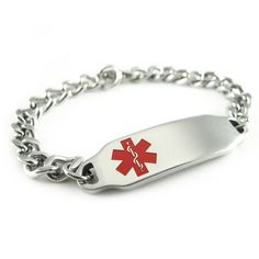 Pre Engraved Diabetes Type 1 Alert Id Bracelet Red Symbol
