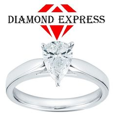 """1.5 Ct Diamond Pear Cut 14K Gold Solitaire Engagement Ring """"Mother\'s Day Gift"""". Starting at $1"""
