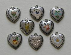 Victorian Enameled Rubus Sterling Heart Charm Group.