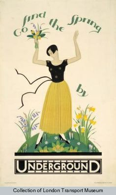The Passion of Former Days: Spring Calling, London Listening. Poster by Alma Faulkner, 1928