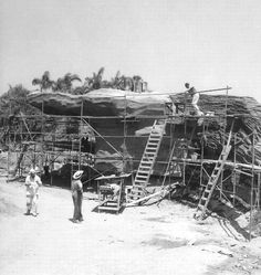 Building the Jungle Cruise's Schweitzer Falls in 1955.