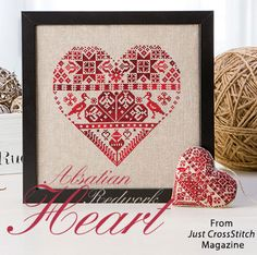 Alsatian Redwork Heart from the Jan/Feb 2016 issue of Just CrossStitch Magazine. Order a digital copy here: https://www.anniescatalog.com/detail.html?prod_id=128987