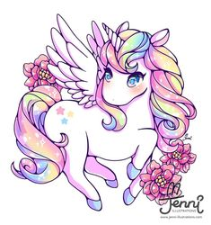 SUPER NICE!! Rainbow Alicorn . . . #jenniilustrations #jennilustrations