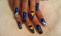 365 Days of Nail Art www.nailsmag.com Batman Nail Art, Superhero Nails, Toe Nail Art, Nail Art Diy, Toe Nails, Nail Polish Designs, Nail Designs, Fabulous Nails, Geek Out