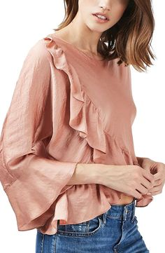 Ruffle Satin Blouse