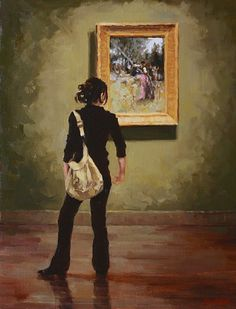 Pausing Near the Sargent by Pauline Roche Oil ~ 20 x 16