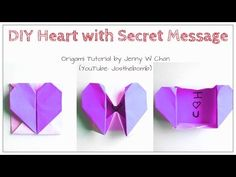 ▶ DIY Origami Heart Box / Envelope, Secret Message - Valentine's Day Crafts- Pop-Up Heart - Kids,Easy - YouTube