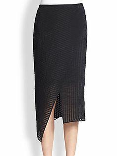 Erdem Striped Wrap Midi Skirt