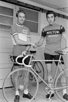 Joop and Eddy, the top two in the world when this photo was taken. Not convinced about Joop's cycling shoes.