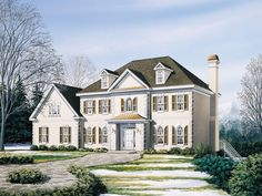 The Aberdeen Country French Home has 4 bedrooms, 3 full baths and 1 half bath. See amenities for Plan 053D-0057.