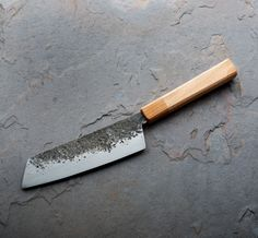 K-tip Petty 120mm custom chef knife handmade by Jacob Saphier of Saphier Blades.