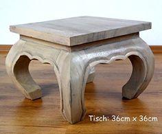 Opiumtisch, rosè, Beistelltisch, Nachttisch, asiatischer Couchtisch, Massivholz Möbel (Handarbeit) (36cm x 36cm)