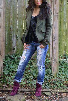 military green and ripped jeans
