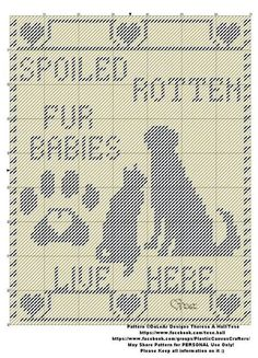 Spoiled Rotten Fur Babies by: Theresa Hall Canvas Door Hanger, Wall Canvas, Plastic Canvas Crafts, Plastic Canvas Patterns, Cross Stitch Charts, Cross Stitch Patterns, Cross Stitching, Cross Stitch Embroidery, Canvas Designs